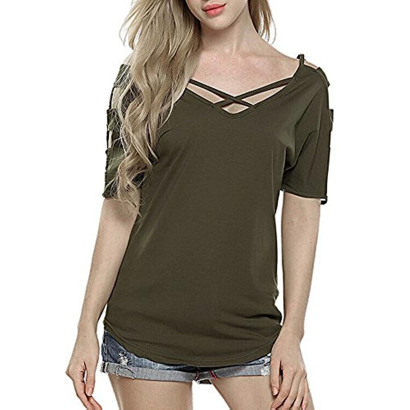 ほこりっぽい素朴なウェーハレディース 洋服 半袖 Vネック 無地 tシャツ 体型カバー 欧米風 夏服 日々着 大きなサイズ 0代30代40代でも お仕事 お出かけ デート 旅行 (XL, グリーン)