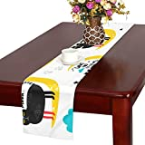GGSXD テーブルランナー 面白い 黒い猫 クロス 食卓カバー 麻綿製 欧米 おしゃれ 16 Inch X 72 Inch (40cm X 182cm) キッチン ダイニング ホーム デコレーション モダン リビング 洗える