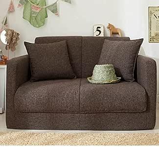 生活雑貨 ソファーベッド ソファー 脚を伸ばしてゆったり寝れるソファーベッド 3つ折りコンパクトタイプ (2P, ブラウン)