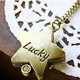 """ファッションジュエリーアクセサリーStar Shape with Carved """" Lucky """"アンティークポケット時計"""