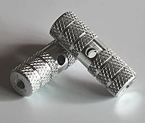 自転車 ステップ・ギヤガード(2本セット) アルミステップ  7xφ2.4cm (シルバー)