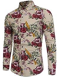 maweisong メンズファッションスリム花プリントロングスリーブボタンダウンシャツ