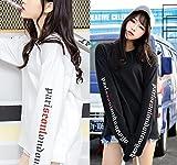 サイド文字トレーナー ロンT トップス レディース カジュアル 個性的 原宿系ファッション 韓国ファッション (ブラック)