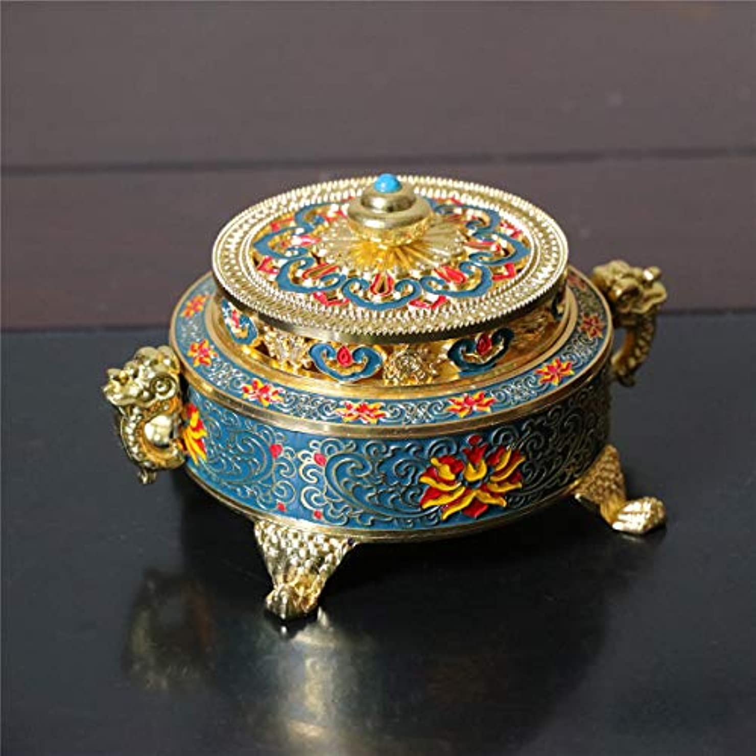 奨励しますシンプルな組み合わせPHILOGOD 香炉 美しく印刷渦巻き線香 香立て 仏壇用 香皿 (Blue Enamel)