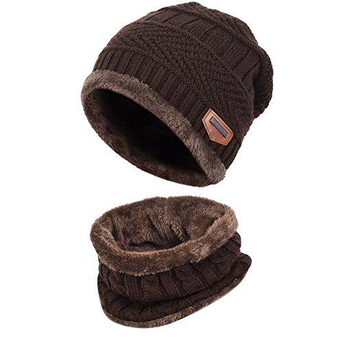 Goodbuy 帽子 メンズ 冬 暖かい ニット キャップ 防寒 スキー ソフトフリースの裏地は スカーフ付き (ブラウン-A)