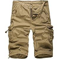 Legou Men's Cotton Solid Color Cargo Shorts