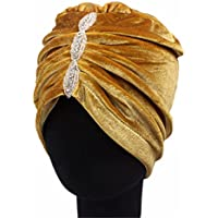 Qhome Fashion Women Luxury Diamante Soft Velvet Turban Headband India Muslim Hat Chemo Beanie Hat Turbante Hair Accessories