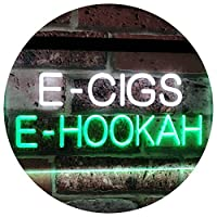 E-Cigs E-Hookah Indoor Shop Display Dual LED看板 ネオンプレート サイン 標識 White & Green 400 x 300 mm st6s43-i3107-wg