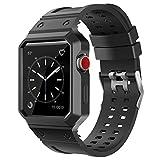 BRG For apple watch バンド,ケース付きの一体式 アップルウォッチバンド  apple watch series 3 apple watch series 2 series1 に対応 (38mm,ブラック)