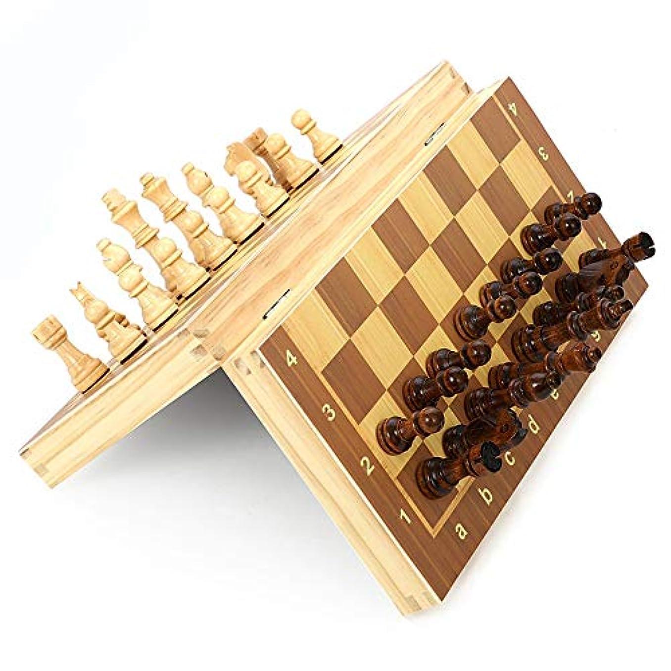 チェスセット チェスセット折りたたみ磁気木製標準チェスゲームボードセットで木製の細工された作品とチェスの収納スロット 子供と大人のための (色 : As picture, サイズ : 34*34cm)