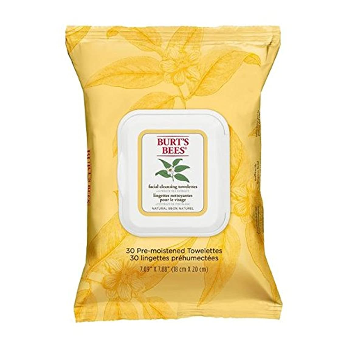 決済繊維蒸気Burt's Bees Facial Cleansing Towelettes with White Tea Extract - ホワイトティーエキスとバーツビー洗顔ペーパータオル [並行輸入品]