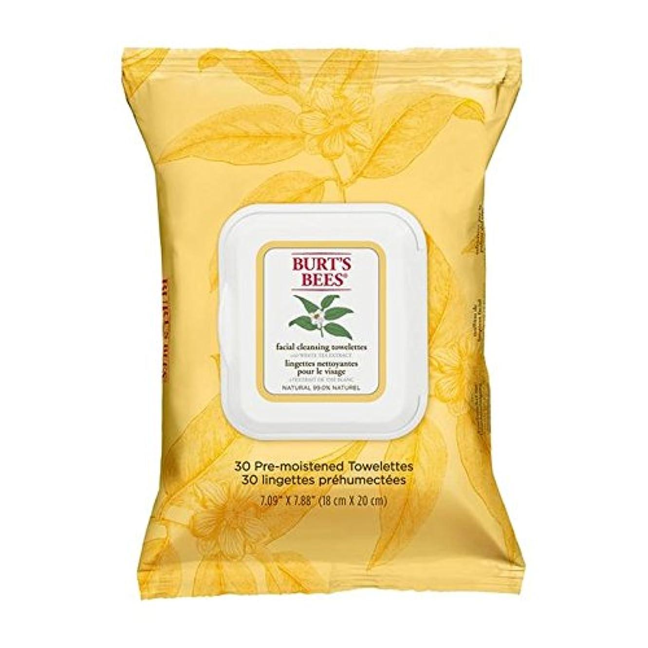 支援ワット自分の力ですべてをするBurt's Bees Facial Cleansing Towelettes with White Tea Extract - ホワイトティーエキスとバーツビー洗顔ペーパータオル [並行輸入品]