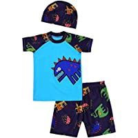 YiZYiF Kids Boy's Dinosaur 3 Pieces Swimsuit Set with Swimming Cap Swimwear Summer