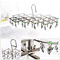 FidgetGear Stainless Steel 35 Clips Folding Underwear Bra Sock Laundry Hanger Drying Rack