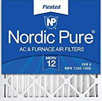 Nordic Pure MERV 12 プリーツ付きエアコン 炉 フィルター 3個入 16x16x2 16x16x2M12-3 1