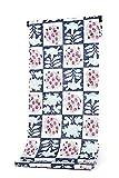 2017年新柄 岡重謹製 女物 反物白×青×ピンク(市松・花) シック 女 日本製 レディース用