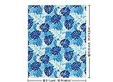 青のハワイアンファブリック モンステラ・パラパライ柄 fab-2646BL 【ハワイ生地・ハワイアンプリント】