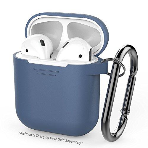 AirPods用AhaStyleシリコンケース [防塵栓] [オールラウンド保護] [携帯に便利] (改善版-ブルー)