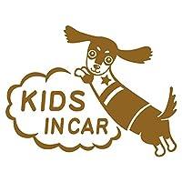 imoninn KIDS in car ステッカー 【シンプル版】 No.38 ミニチュアダックスさん (ゴールドメタリック)