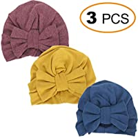 EMPHY 3Pcs Head Wraps with Bowknot for Kids, Winter Hats Caps Thick Warm Head Wear for Kids 1-7yrs