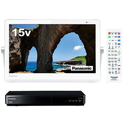 パナソニック 15V型 ポータブル 液晶テレビ プライベート・ビエラ 防水タイプ 500GB ブルーレイプレーヤー/HDDレコーダー付 ホワイト UN-15TD8-W + 防水リモコン セット