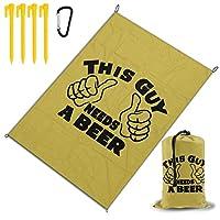 この男はビールが必要 レジャー旅行シートピクニックマット防水145×200センチ折りたたみキャンプマット毛布オーニングテントライトと収納が簡単ポータブル巾着