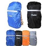 ザックカバー 登山 旅行 通勤通学用のバックパックの雨具 選べる12種/SML 4色/リフレクターで夜間や暗がりでも大丈夫/オリジナル カラビナホイッスル付き (グレー, Lサイズ:55-80L)