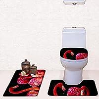 バスルームフロアマットフラットパッディングトイレマット3セット浴室コンビネーションマット3セットクリエイティブファッションブランケットバスルームフロアマットトイレットマット (Color : A)