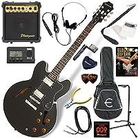 EPIPHONE エレキギター 初心者 入門 ギブソンES-335のエピフォン版 10wアンプが入ったスタンダード15点セット Dot/EB(エボニー)