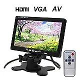 BANGWEIER 7インチTFT LCDカーモニターHDMIカーモニターカーヘッドレストモニター - HD 1024x600ネイティブ解像度、HDMI + VGA + AVビデオ入力/出力,1080P対応 PC/DVD/バックカメラなどに接続可能