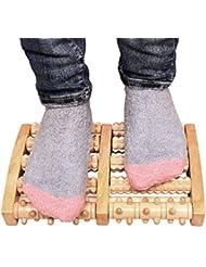 木の二重足のマッサージャー、足底筋膜炎のためのローラーの痛みの軽減治癒拍車ディープティッシュ指圧フット&ヒールマッサージャー