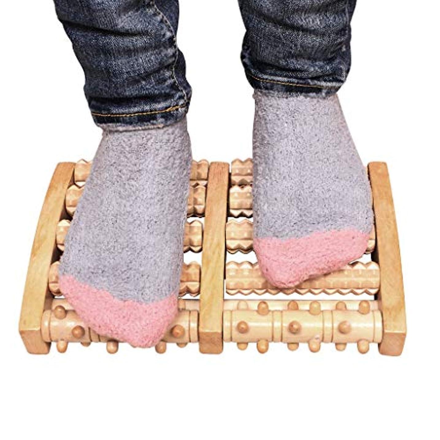 実験をする置き場うぬぼれた木の二重足のマッサージャー、足底筋膜炎のためのローラーの痛みの軽減治癒拍車ディープティッシュ指圧フット&ヒールマッサージャー