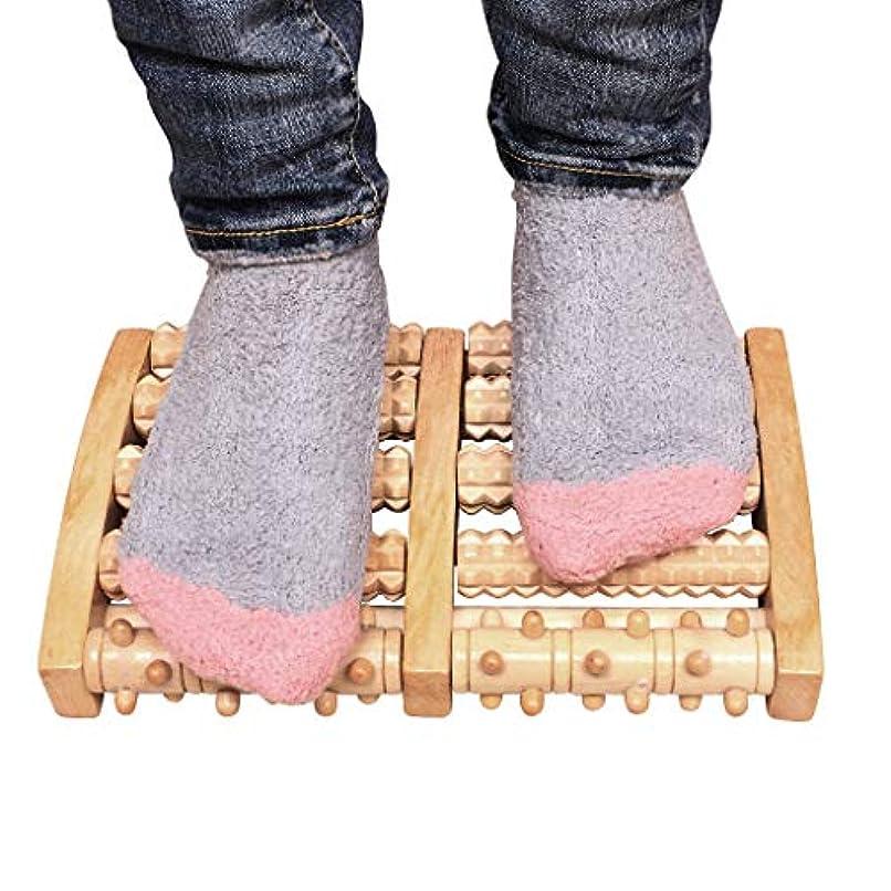合併盟主見習い木の二重足のマッサージャー、足底筋膜炎のためのローラーの痛みの軽減治癒拍車ディープティッシュ指圧フット&ヒールマッサージャー