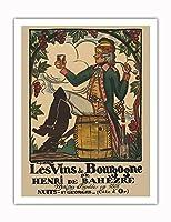 ブルゴーニュワイン、フランス - ワインメーカーHenri deBah?zre - ビンテージな広告ポスター によって作成された ガイ・アルヌー c.1916 - アートポスター - 51cm x 66cm