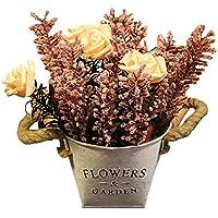 ブリキ 造花 ガーデニング 花器 うつわ 水筒 バケツ 花瓶 インテリア 置物 プレゼント 贈り物 ピンク