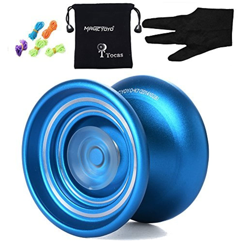 Magicyoyo Responsive Metal YOYO Professional yoyo K7 For Beginners Kids with 5 Strings+Bag+Glove-Blue 【You&Me】 [並行輸入品]