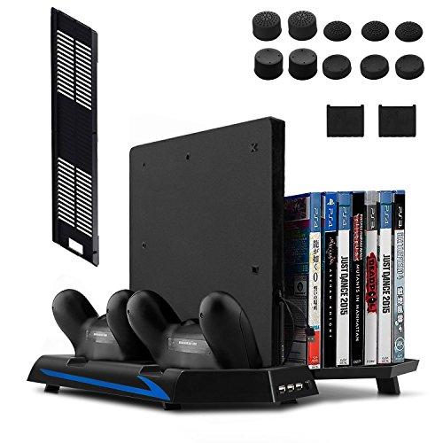 Deyard PS4 / PS4 Slim 縦置きスタンド PS4ディスク収納 14個 冷却ファン付き(第二世代)
