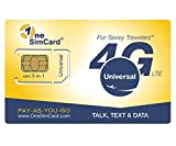 OneSimCard Universal 3-in-one SIM Card for use in Over 200 Countries with US $5 credit - Voice, Text and Mobile Data as low as US $0.01 per MB. Compatible with All Unlocked GSM Phones. 4G in 50+ Countries.