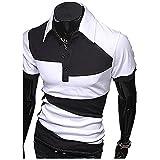 【 スマイズ スマイル 】 Smaids×Smile メンズ ポロシャツ 半袖 スリム ゴルフ ウェア バイカラー (ホワイト L)