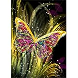 5D Diamond Painting Kits for Adults Full Drill, DIY Cross Stitch Crystal Embroidery Kit Picture Artwork for Home Wall Decor Gift Butterfly 30X40cm