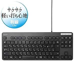 エレコム 有線キーボード 薄型メンブレン コンパクトサイズ ブラック TK-FCM107XBK