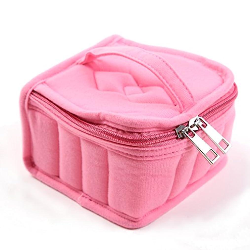 許す動詞決めますLUXWELL(ラクスウェル) 香水収納バッグ 16格 エッセンシャルオイル収納ボックス アロマオイルポーチ マニキュア アロマケース 精油 保管袋 耐震 ミニボトルケース ピンク