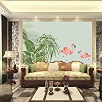 カスタム壁の壁画写真の壁紙3D水彩ツリー/フラミンゴテレビの背景リビングルーム大壁画Papel De Parede,350cm×245cm