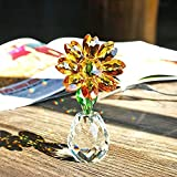 H&D Crystal Sunflower Figurine Ornament Paperweight Table Decor