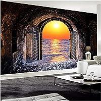 Noweima1999 カスタム写真壁紙3Dステレオスペーストンネルサンセットシービュー壁画リビングルームレストラン背景壁画3Dフレスコ画-250X175Cm