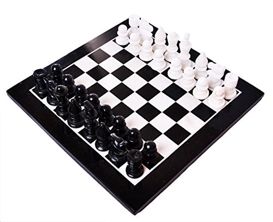 Marble Chess Set - Light Green/Black Board with Deluxe Velvet Box 12 in.