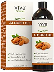 Viva Naturals Almond Oil (16 Oz) - Sweet Almond Oil for Skin or Almond Oil for Hair, The Perfect Natural Body
