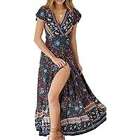 ZESICA Women's Summer Cold Shoulder Floral Printed Swing T-Shirt Loose Dress with Pockets