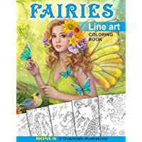 Fairies. Line Art Coloring Book: Coloring Book for Adults