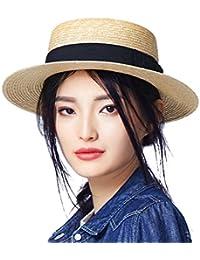 女性のシンプルな麦わら帽子 - 夏の日の保護のバイザーの帽子ファッション小麦の麦わらの織り太陽の帽子のトッパー (色 : ナチュラル)